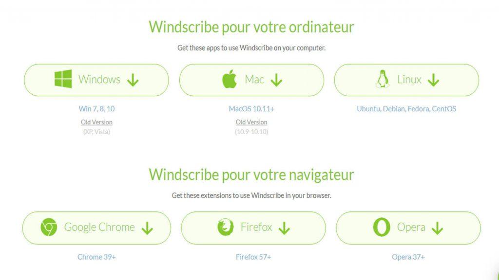 Applications windscribe