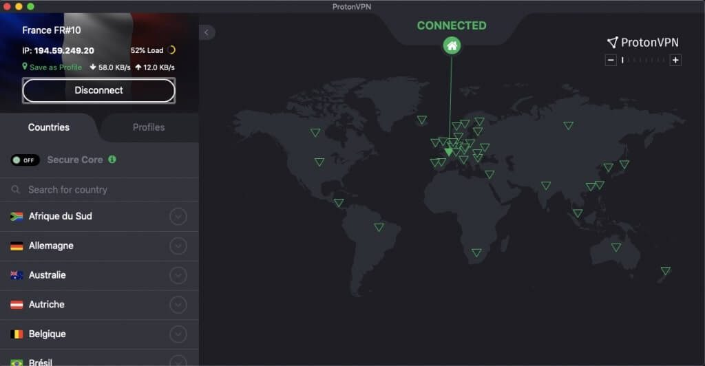 Connexion ProtonVPN