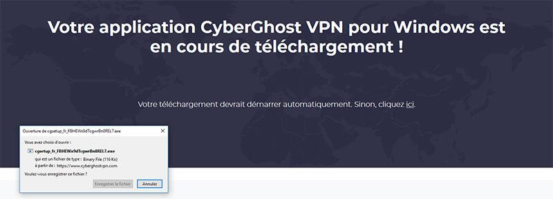 Téléchargement application CyberGhost