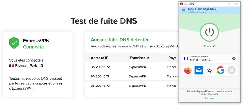 Test fuite DNS ExpressVPN