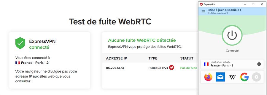 Test fuite WebRTC ExpressVPN