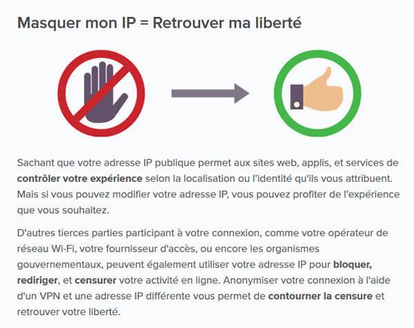 Masquer adresse IP liberté