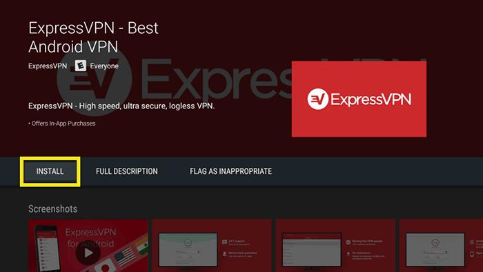 Téléchargement application ExpressVPN Android TV