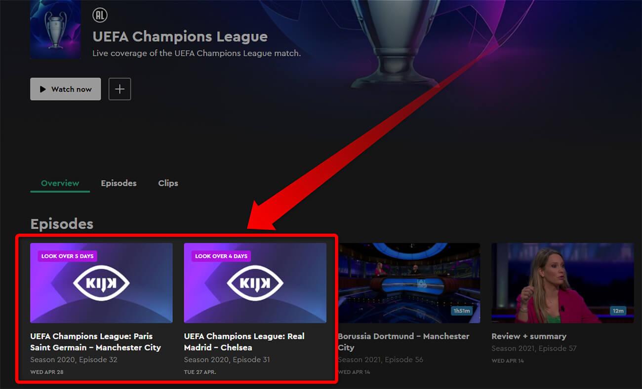 Programme TV Chaine gratuite KIJK Ligue des Champions 27 28 Avril